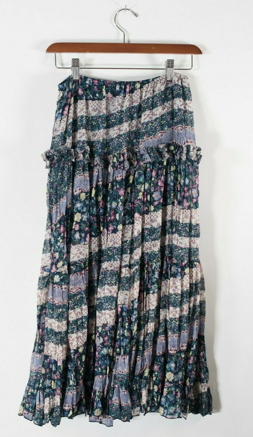 Satrinsha Paris Womens Small Green Skirt Floral Drawstring Elastic Waist Slip