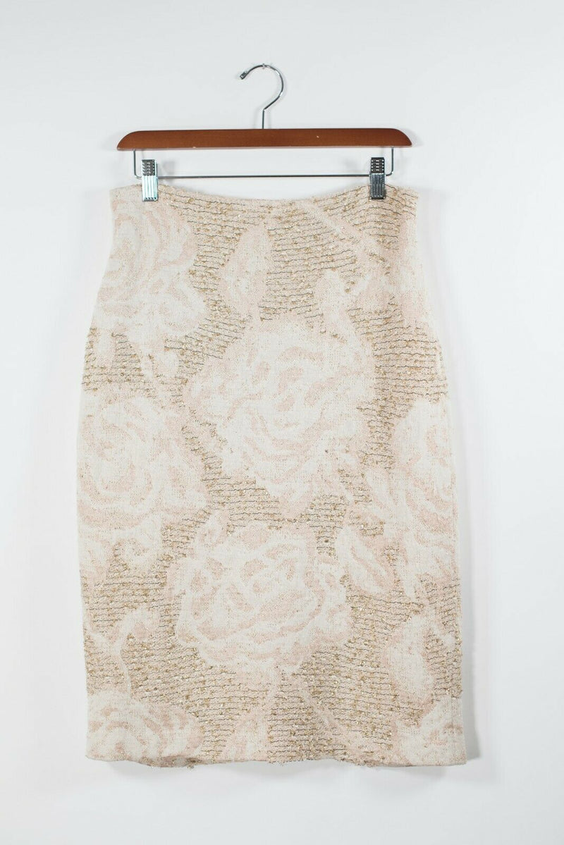 St John Couture Womens 8 Medium Gold Tan Beige Pencil Skirt Tweed Rose Knit Mini