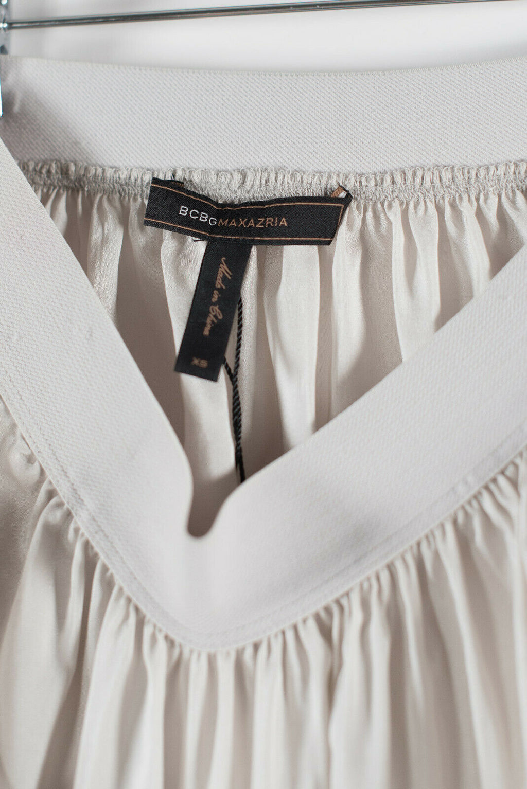 BCBG MaxAzria Womens XS White Mini Skirt Elastic Waist Ruched Short Layered NWT