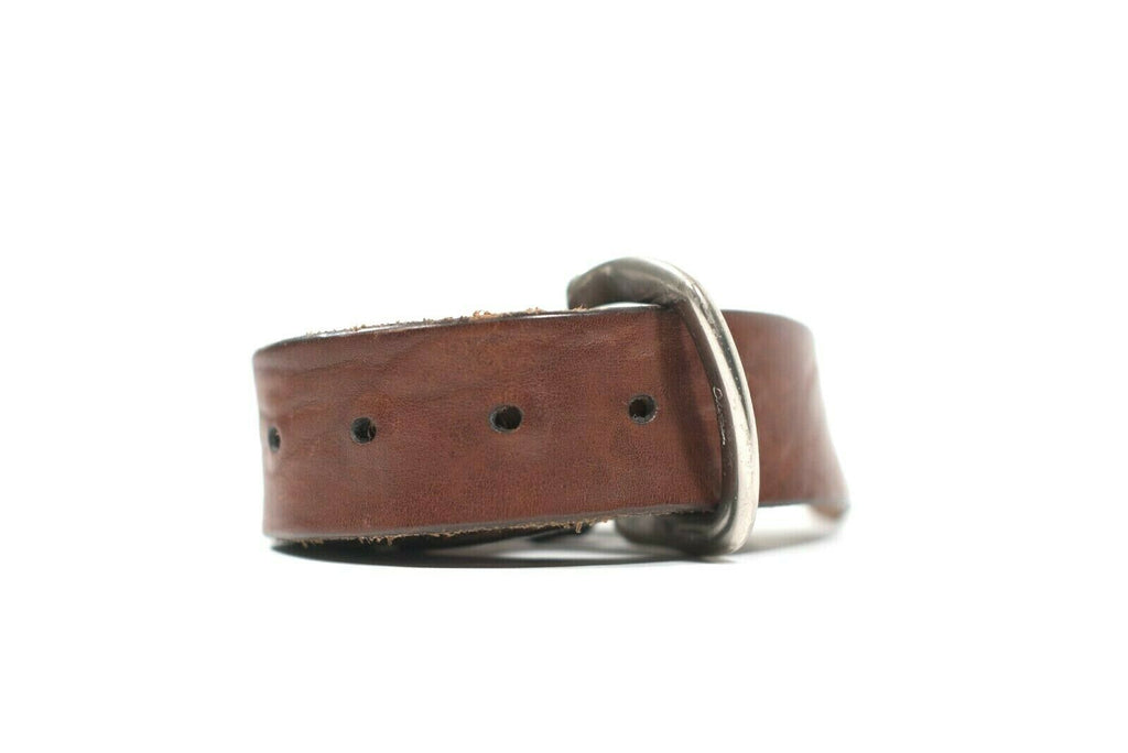 Cole Haan Womens Size 42 S M Brown Waist Belt Distressed Leather Silver Buckle