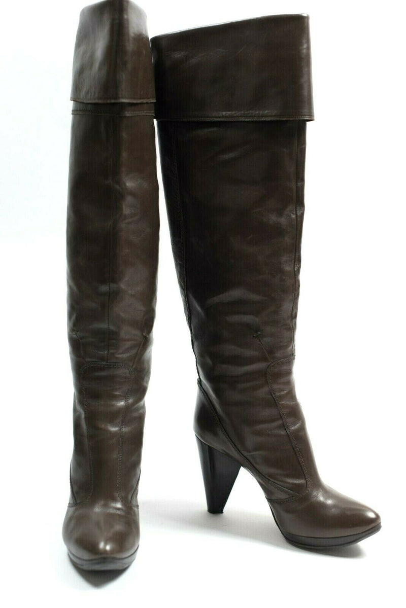 Costume National Womens Size 37.5 Brown Boots Leather Spike Heel Tall Fold Over