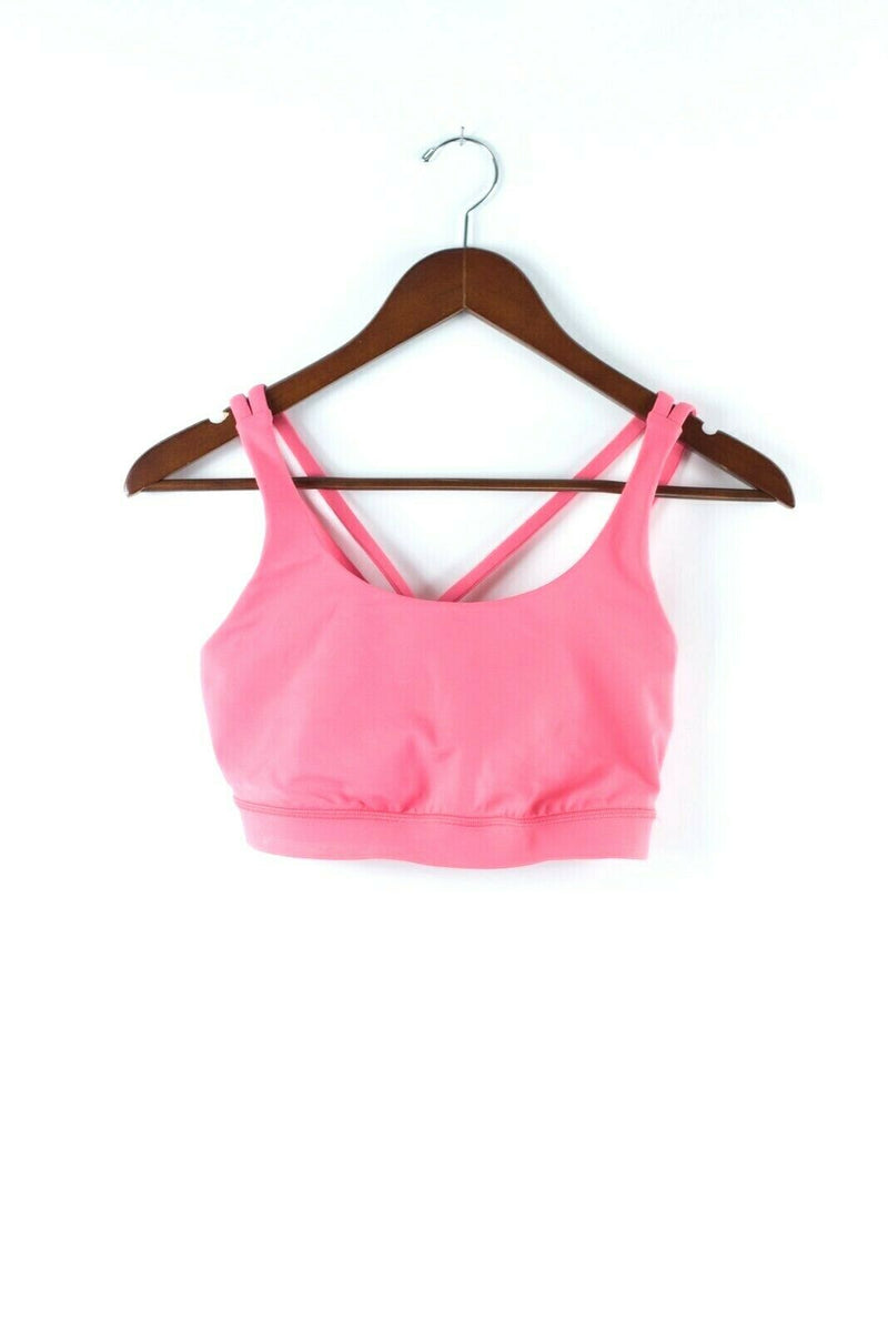 Lululemon Womens Small Medium Pink Sports Bra Crop Top Double Criss Cross Straps