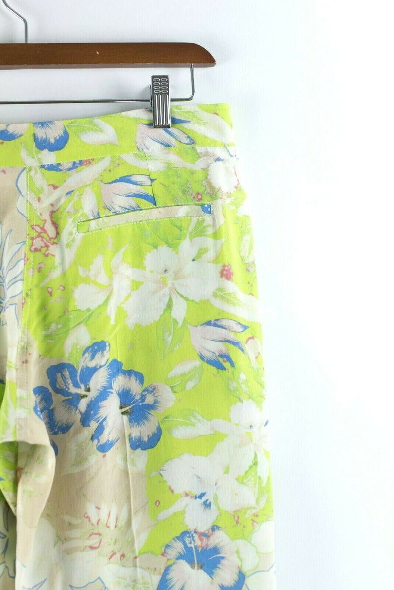 Vanessa Bruno Womens 38 S Lime Green White Pants Floral Silk Wide Leg Trousers