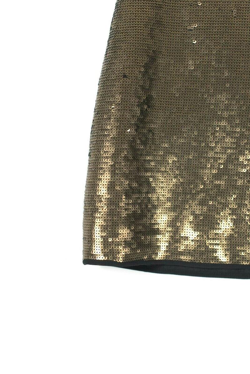 BCBG Maxazria Womens Size XS Black Gold Combo Skirt Catrine Sequin Mini NWT $268