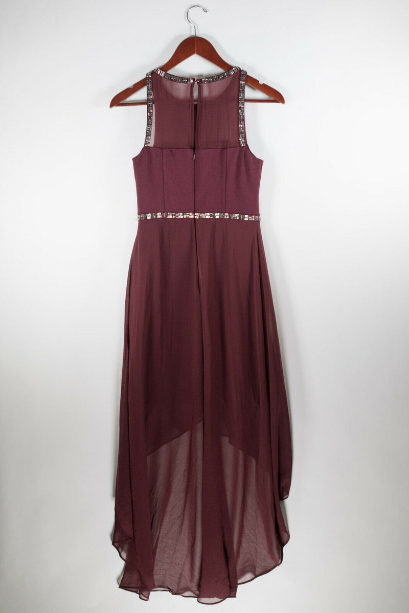 Ever New Melbourne Womens 4 Small Berry Red Dress Hi Lo Sheer Beaded Trim Midi