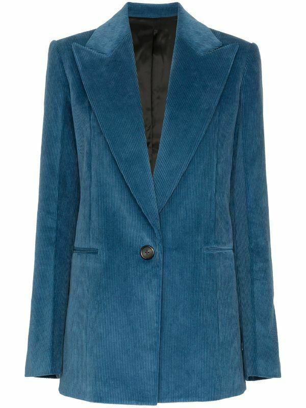 Helmut Lang Womens Size 8 Cobalt Blue Blazer Cotton Corduroy Button Jacket $1458