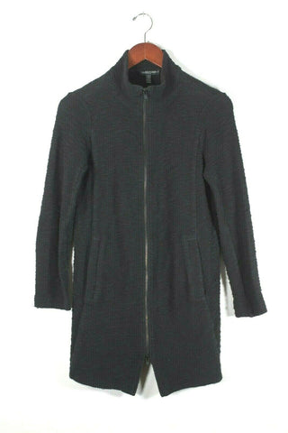 Eileen Fisher Medium Navy Blue Waxed Jacket