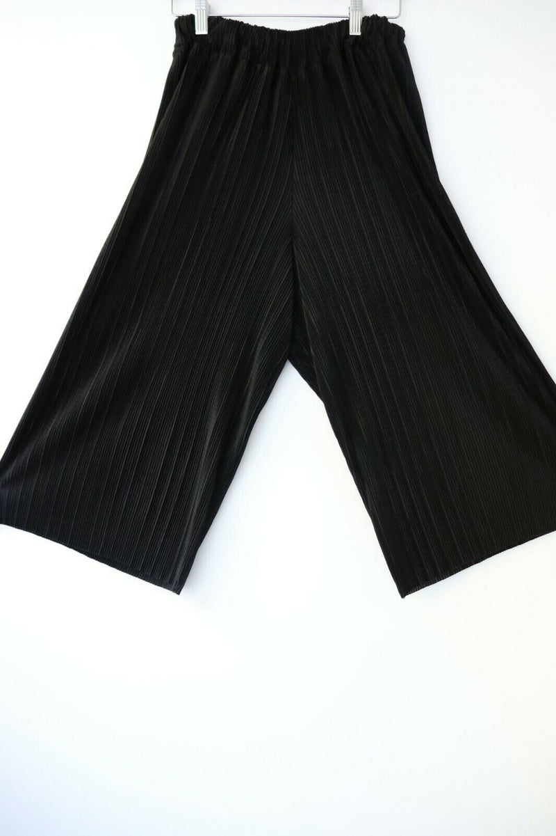 Melo Black Womens S M Culottes Pants Capris Pleated Wide Leg Crop