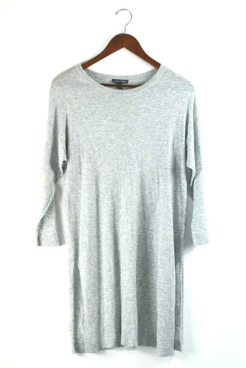 Eileen Fisher Womens XS Heather Grey Tunic Sweater Dress Long Sleeve Knit Top