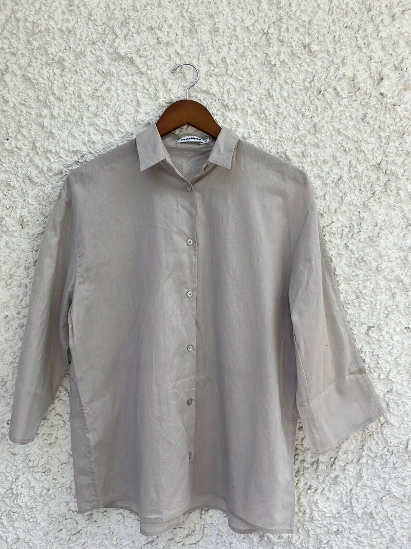 Jil Sander Women's Size 38 Small Beige Button up Blouse Cotton Long Sleeve Shirt