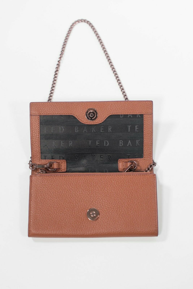 Ted Baker Women's Brown Shoulder Bag WOC Clutch Purse Envelope Wallet On Chain