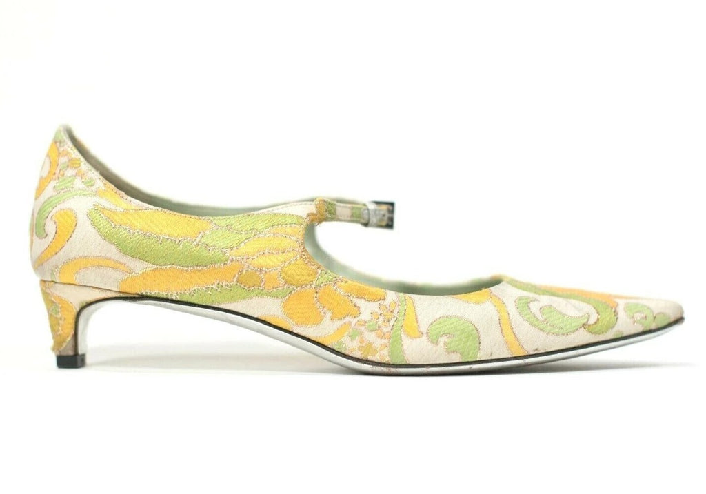 Prada Womens Size 36 US 6 Green Yellow Pumps Pointy Toe Kitten Heel Brocade Shoe
