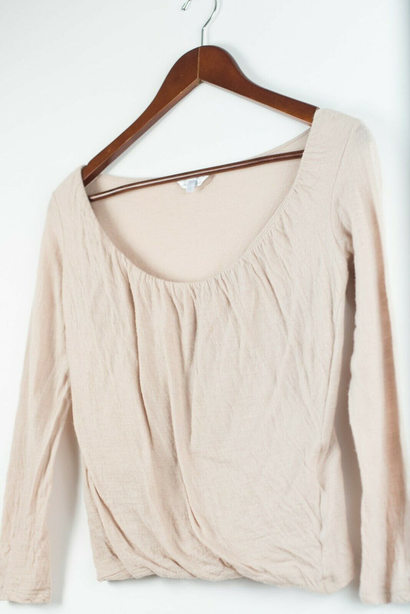 Max Mara Womens Size Small Dusty Rose Pink Shirt Pullover Long Sleeve Ruched Top