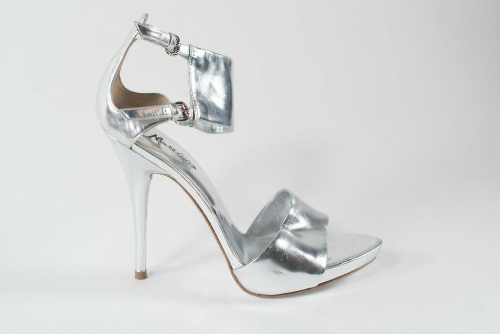 Marciano Womens Size 6.5 Silver Pumps Metallic Leather Stiletto High Heels Shoes