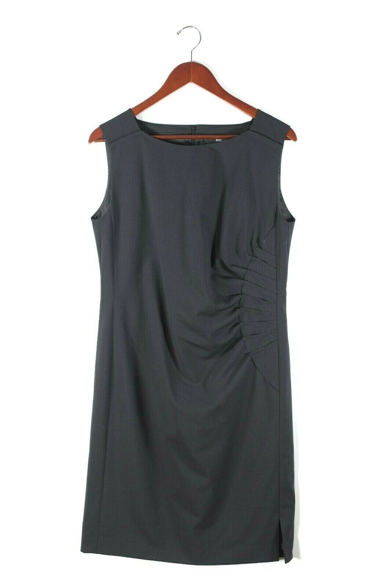 Hugo Boss Womens Size 8 Medium Black Dress Sleeveless Ruched Knee Length Elbise