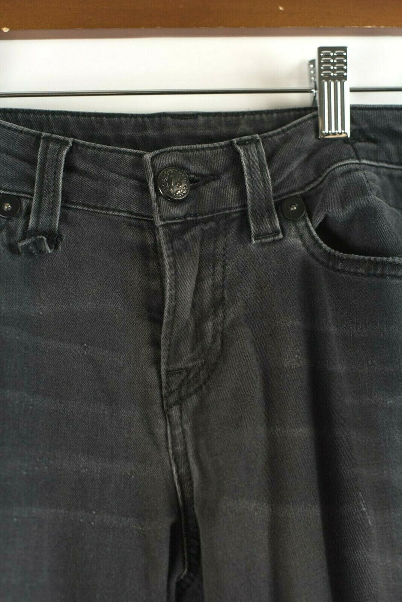 R13 Womens 29 Black Grey Jeans Distressed Faded Hose Skinny Denim Cropped Pants