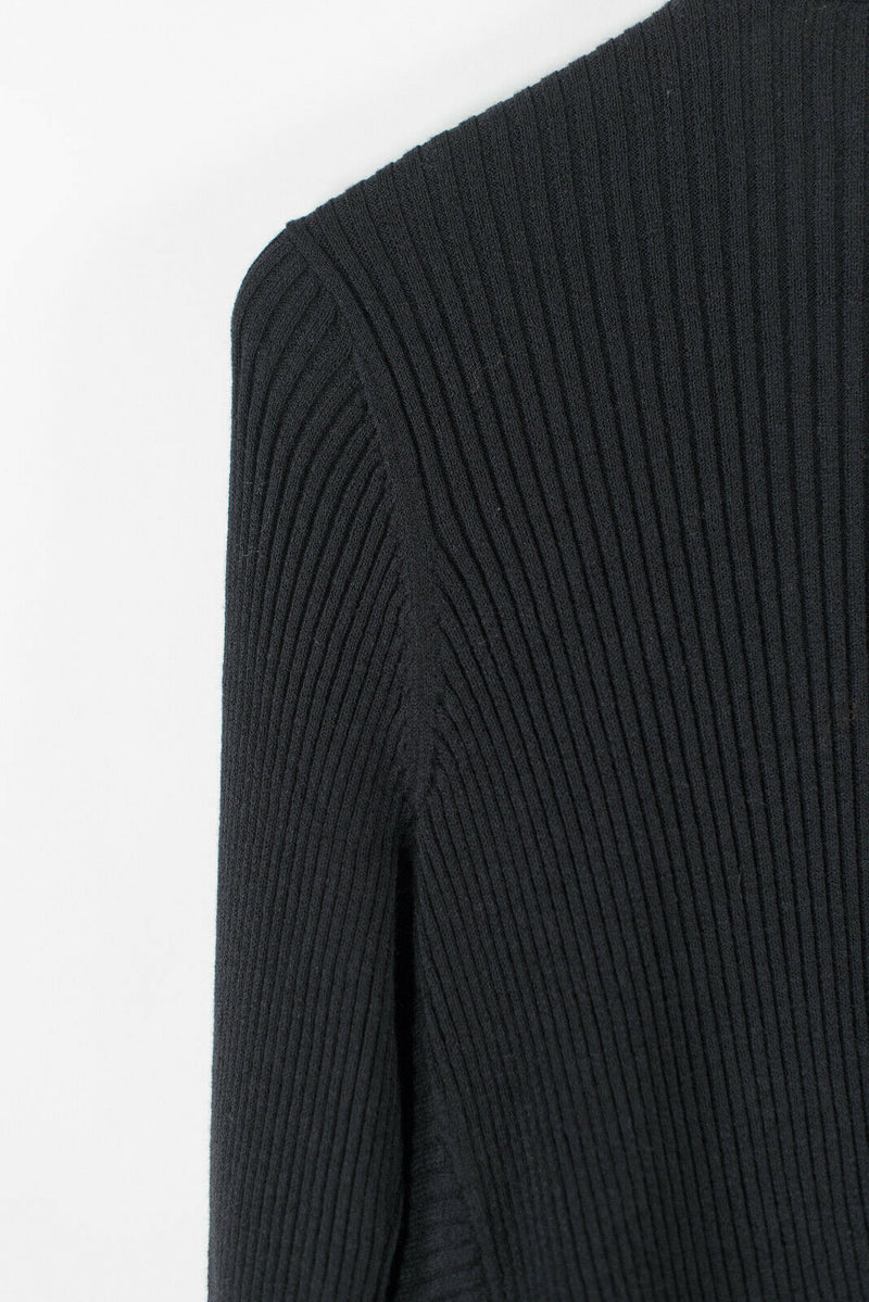 Eileen Fisher Womens Small Black Cardigan Sweater Ribbed Asymmetrical Open Knit