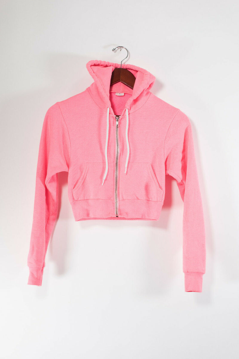American Apparel Womens Size XS Neon Pink Hoodie Cropped Cotton Short Jacket