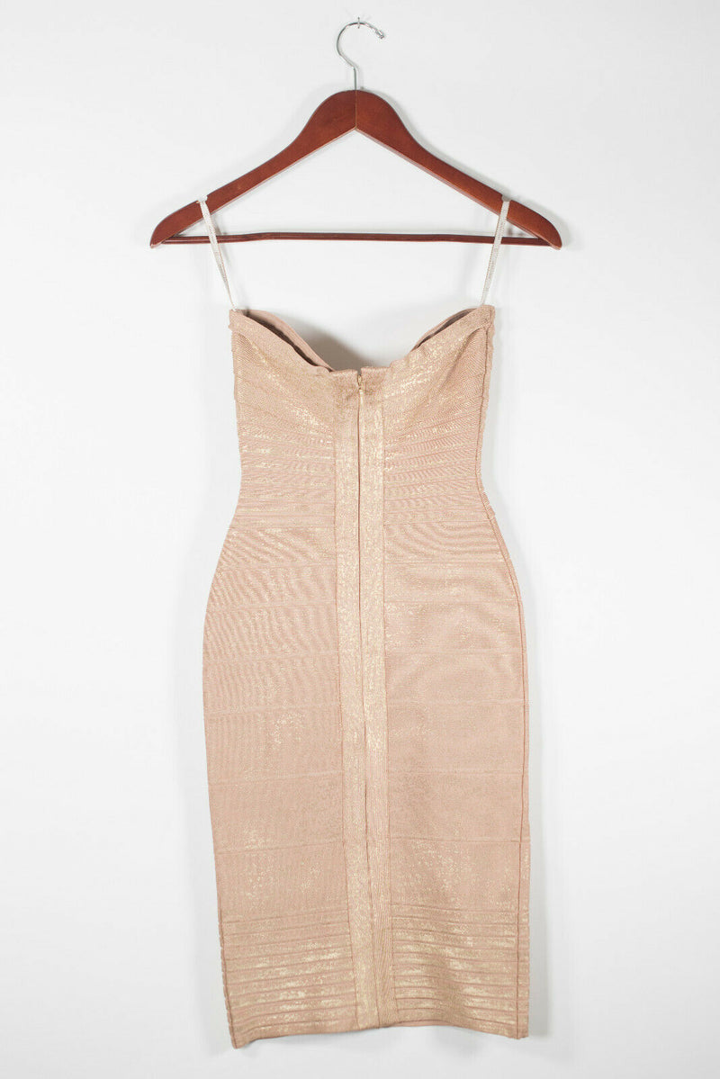 Herve Leger Womens Size XS Gold Bandage Dress Sleeveless Foil Bodycon Knit Mini