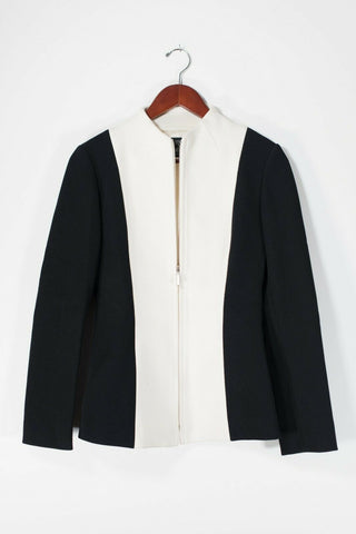 Theory Women's Size 10 Medium Black Blazer Single Button Front Pockets Jacket
