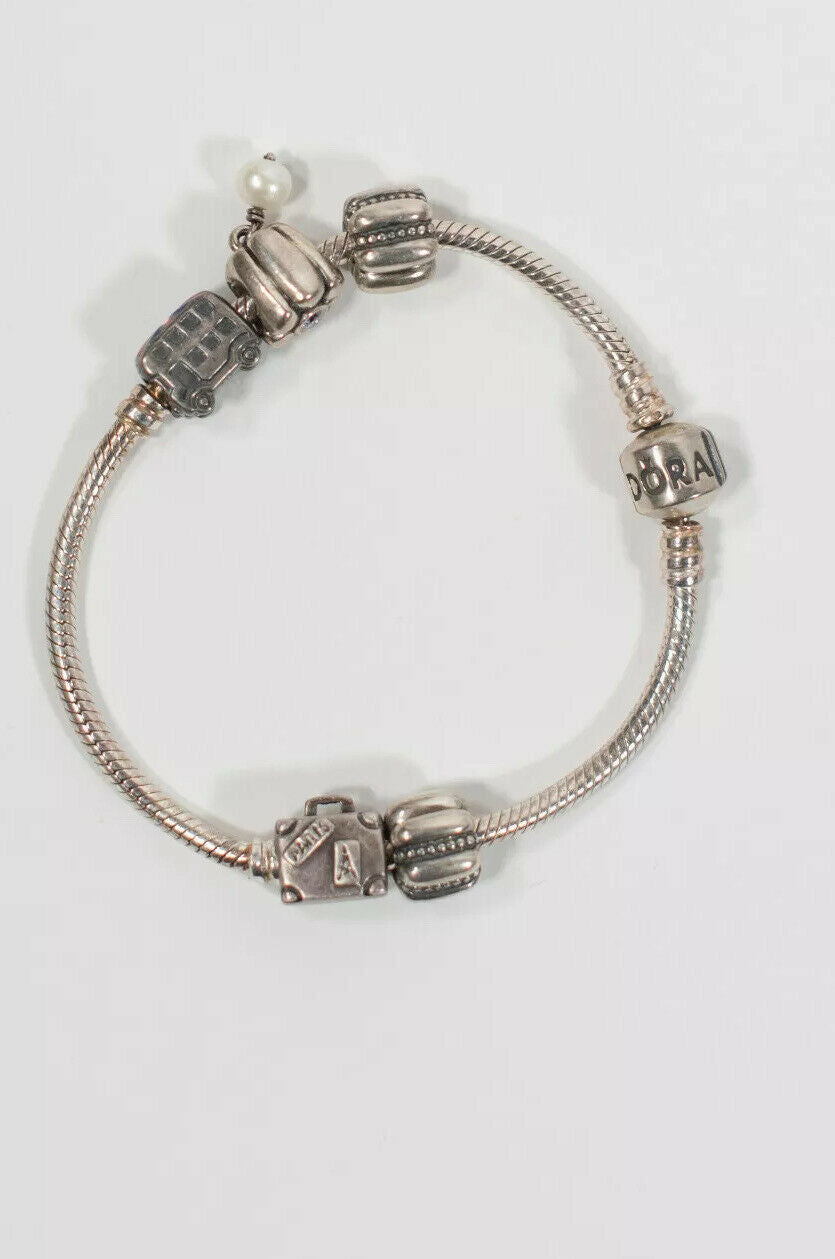 Pandora Womens Silver Charm Bracelet 925 Paris Suitcase Bus Multi Travel 5 Charm