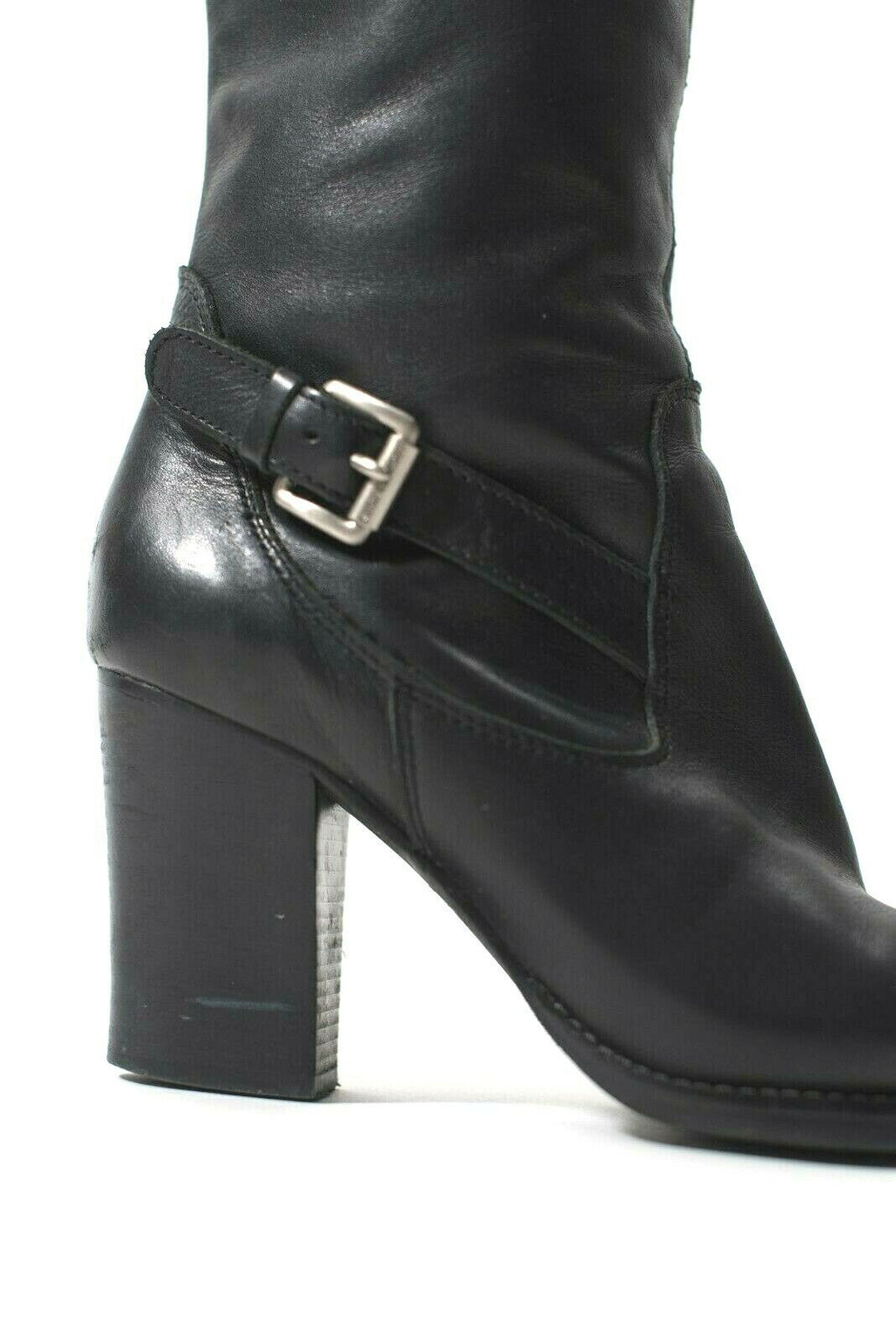 Michael Kors Womens Size 9 Black Boots Tall High Heel Buckle Strap Buckle Shoes