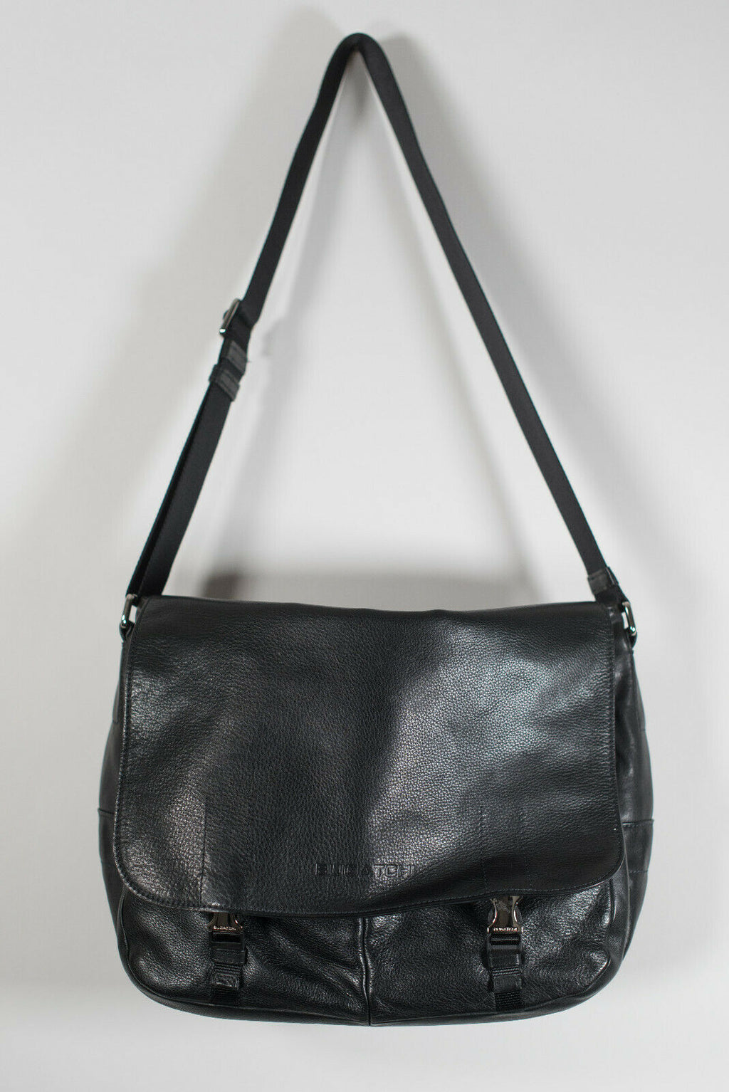 Bugatchi Large Black Messenger Bag Pebble Leather Laptop Zipper Pockets $495
