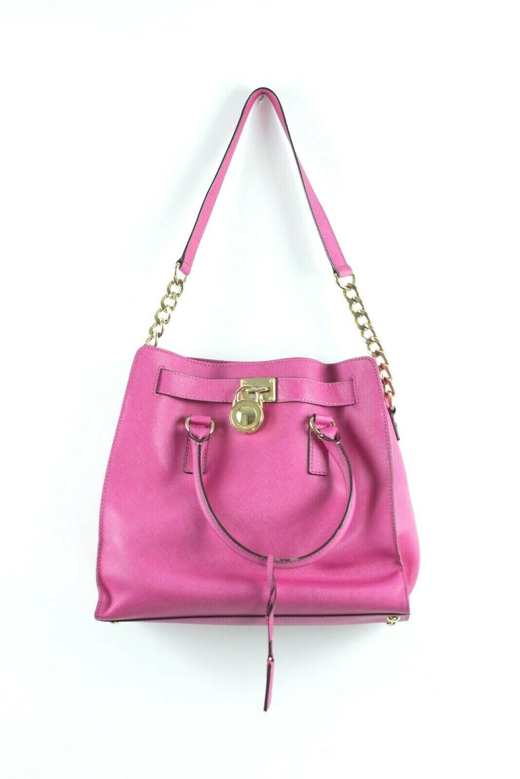 Michael Kors Womens Hot Pink Hamilton Bag Handbag Purse Satchel Neon Leather