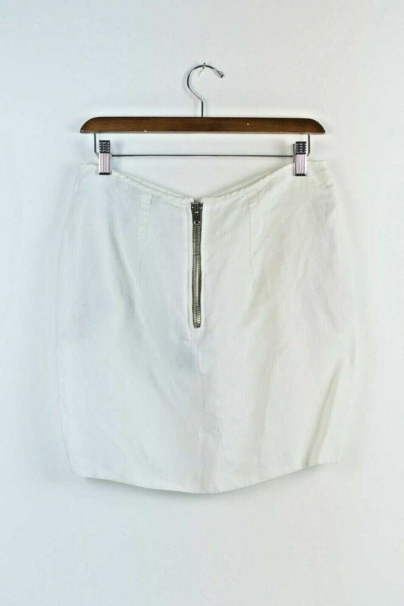 Isabel Marant Womens Size 2 Extra Small White Mini Skirt Linen Ruffle Authentic