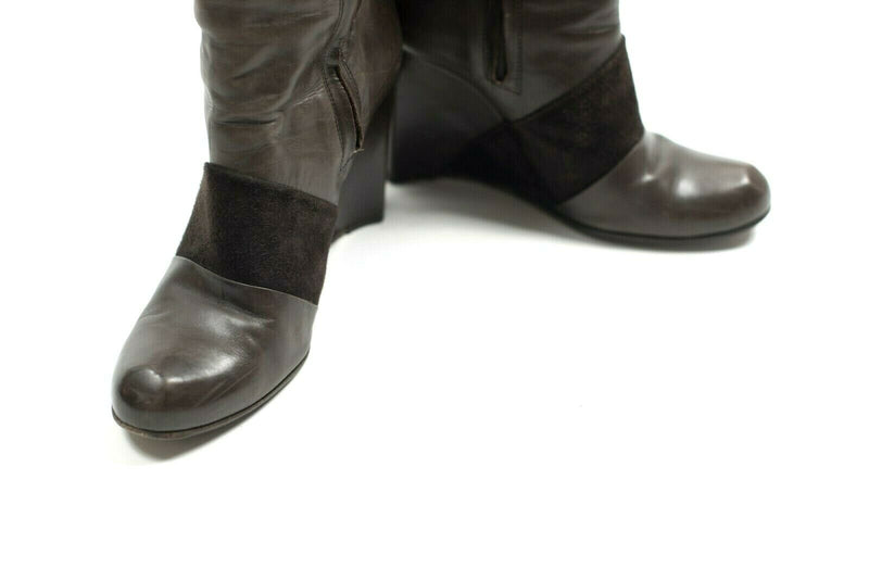 Costume National Womens Size 39.5 Brown Boots Leather Wedge Tall Suede Accent