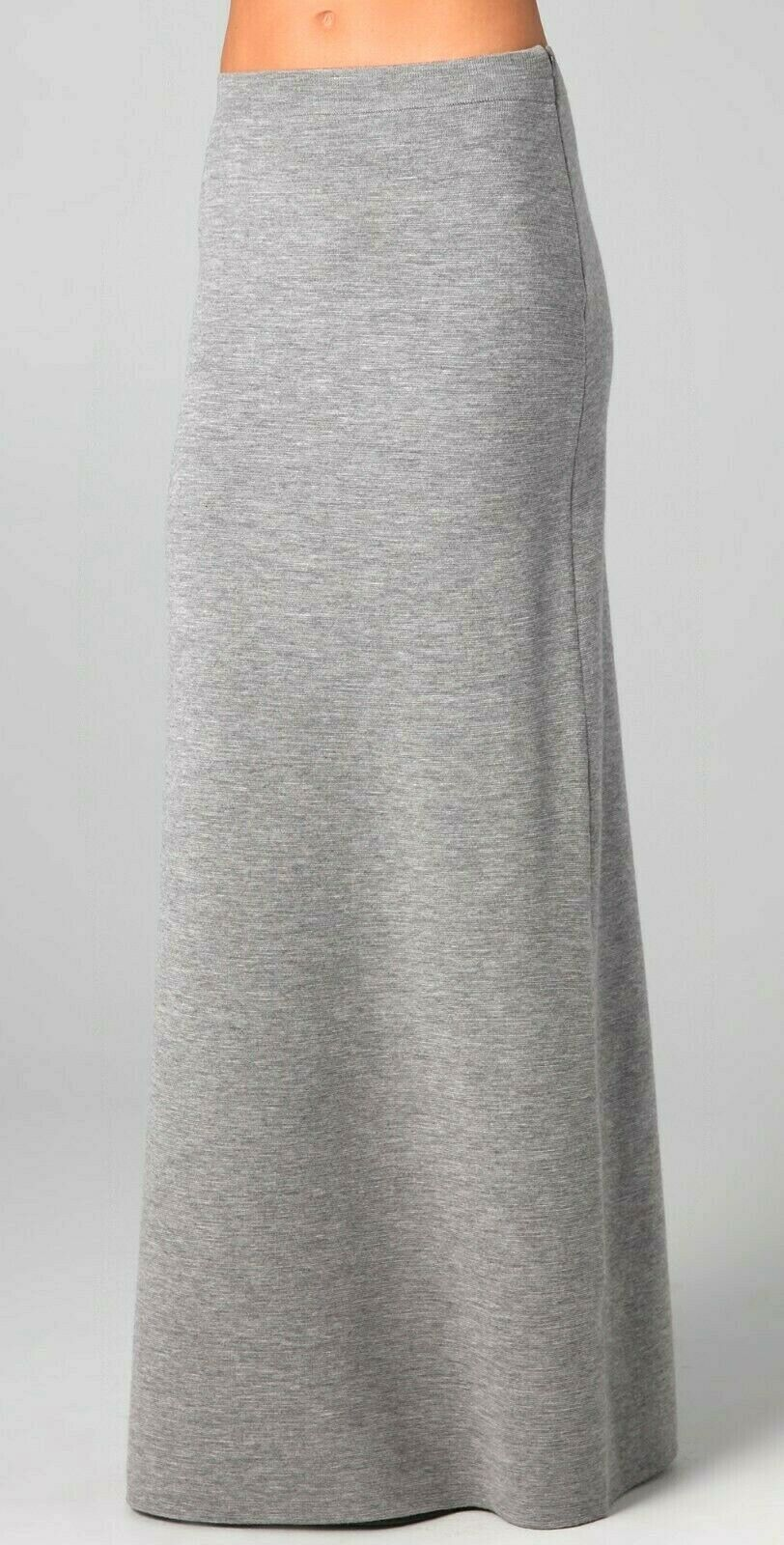 Acne Womens Medium Grey Melange Maxi Skirt Nico Milano Long Double Knit Zip $495