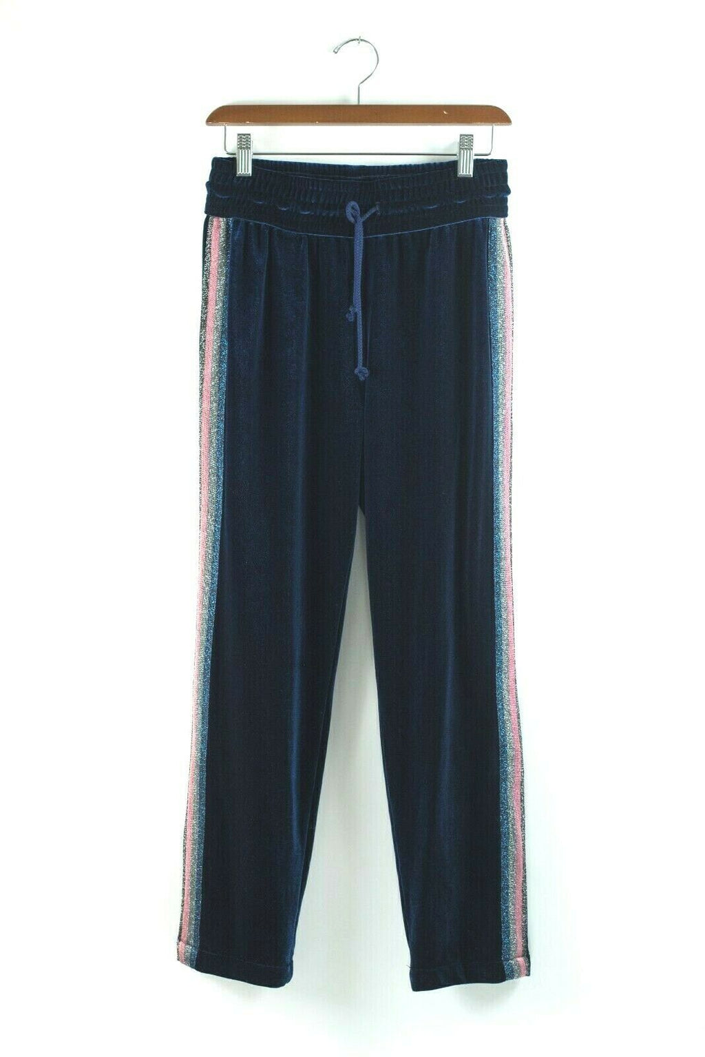 Mother Womens Small Blue Sweatpants The Lounger Ankle Velvet Stripe Jogger Pants