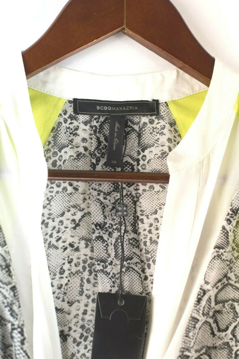 BCBG Maxazria Womens Size XS White Yellow Black Blouse Top Neon Snakeskin NWT