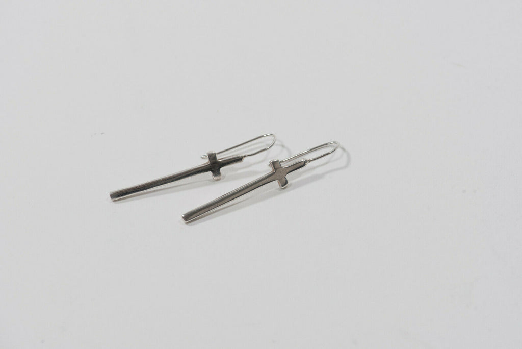 925 Sterling Silver Cross Drop Hook Earrings