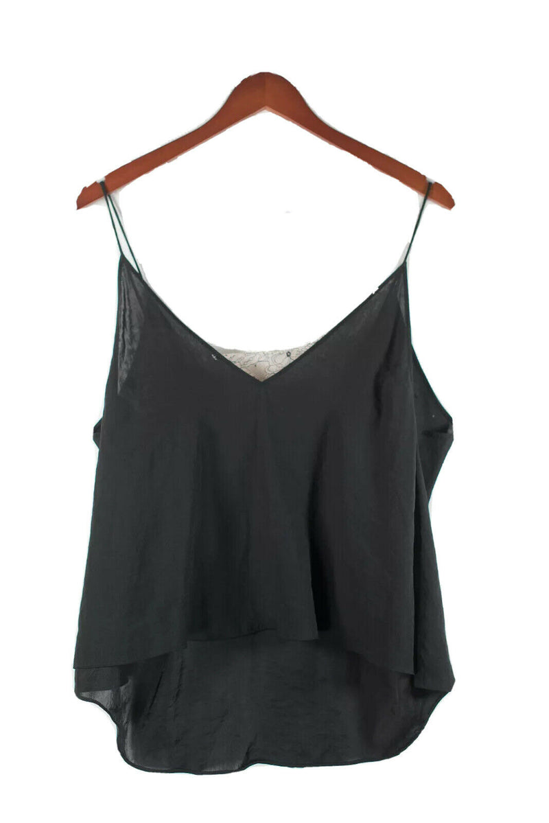 Free People Intimately Womens XS Black White Tank Top Deep Lace Silk Camisole