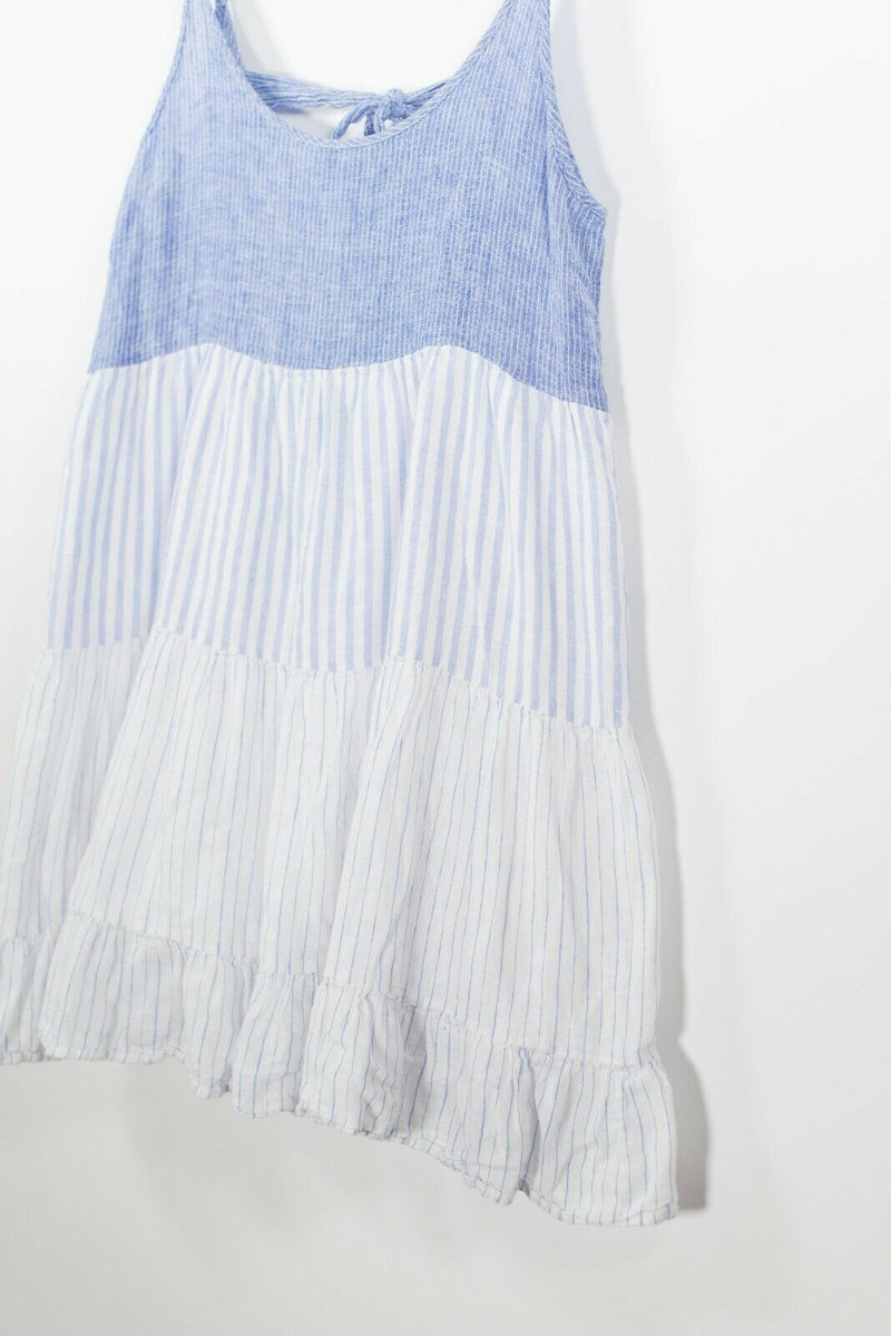 Rails Womens Size Medium Blue White Dress Pleated Striped Tank Daytime Babydoll