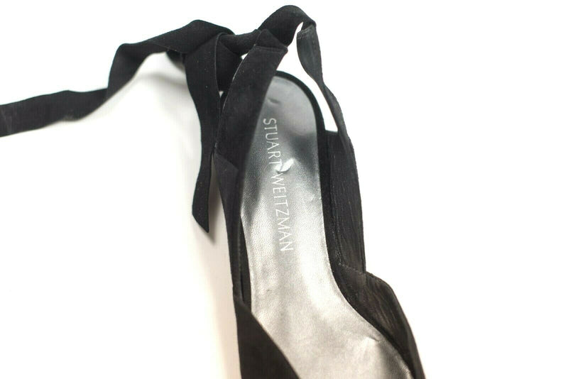 Stuart Weitzman Womens Size 8.5 Black Flats Suede Supersonic Ankle Wrap Shoes