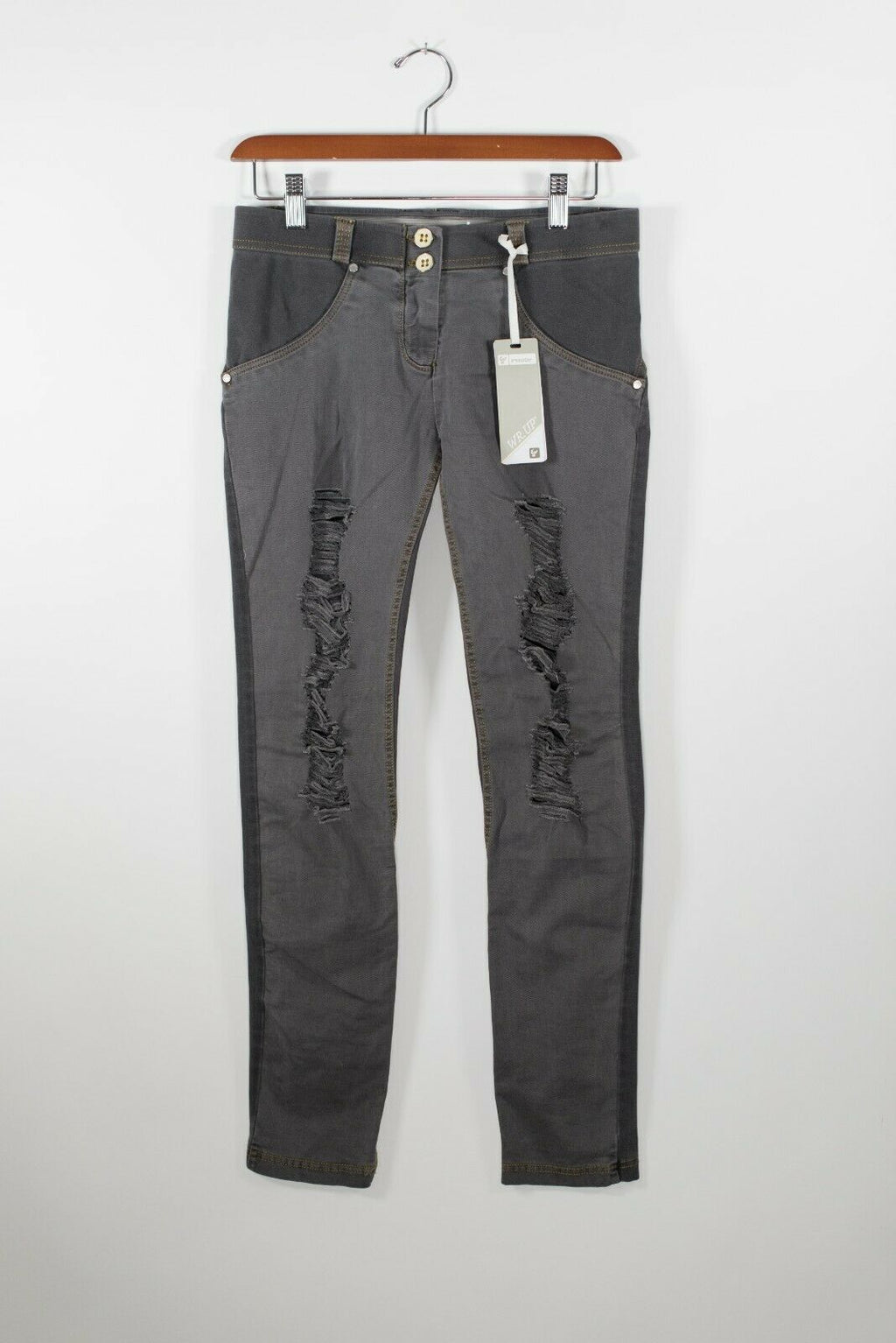 Freddy Womens Size Small Gray Pants Shaping Low Rise Skinny Distressed Denim NWT