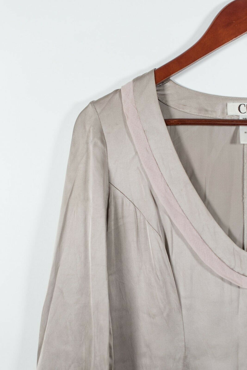 Chloe Womens Size 38 Small Beige Pink Dress Solid Long Ruffle Sleeve Silk Blend