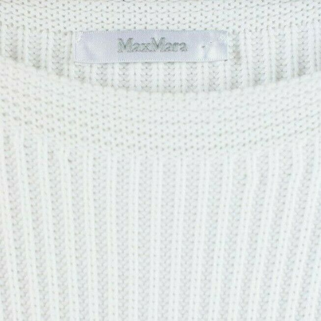 Max Mara Womens Size Large White Pullover Long Sleeve Gold Button Cotton Sweater
