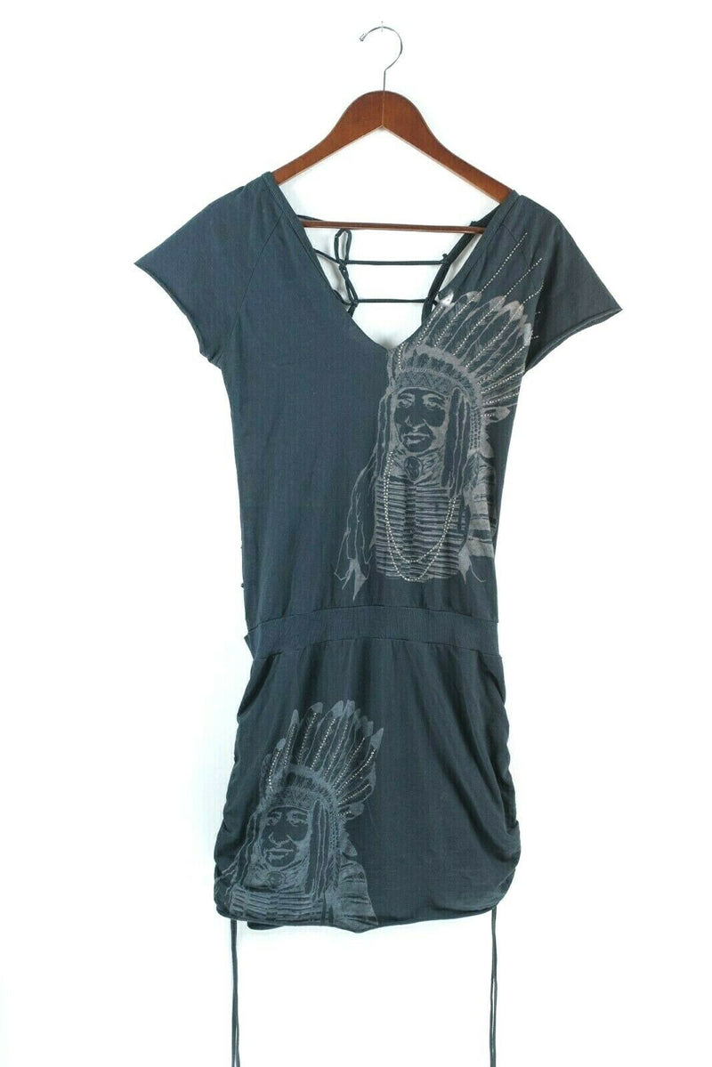 Religion Clothing Brand Womens Small Gray Tunic Native American Print Top Shirt