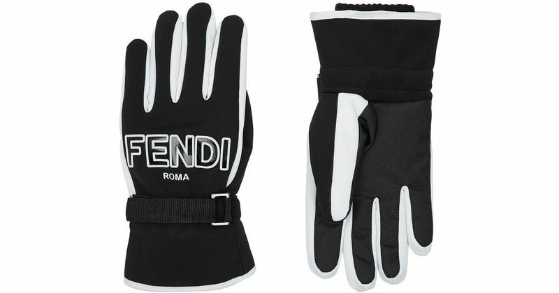 Fendi Black White Ski Gloves Velcro Fastened Fleece Lined FF Logo Ribbed Cuffs