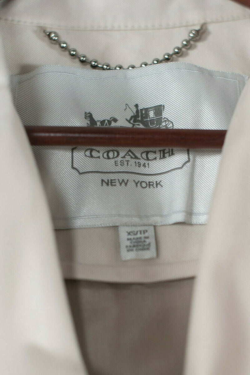 Coach Womens XS Beige Tan Trench Coat Python Colorblock Short Belted Jacket $428