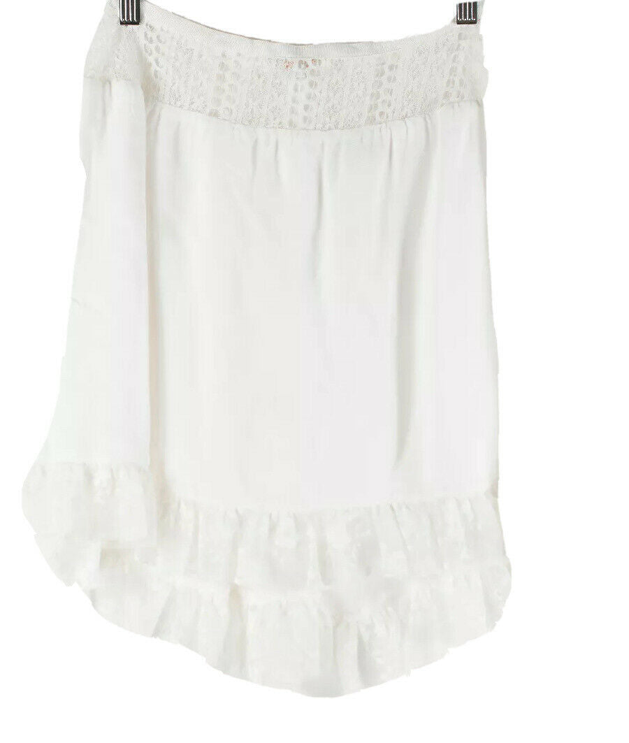 For Love & Lemons Womens XS White Skirt Crepe Lace Layered Ruffle Short Mini