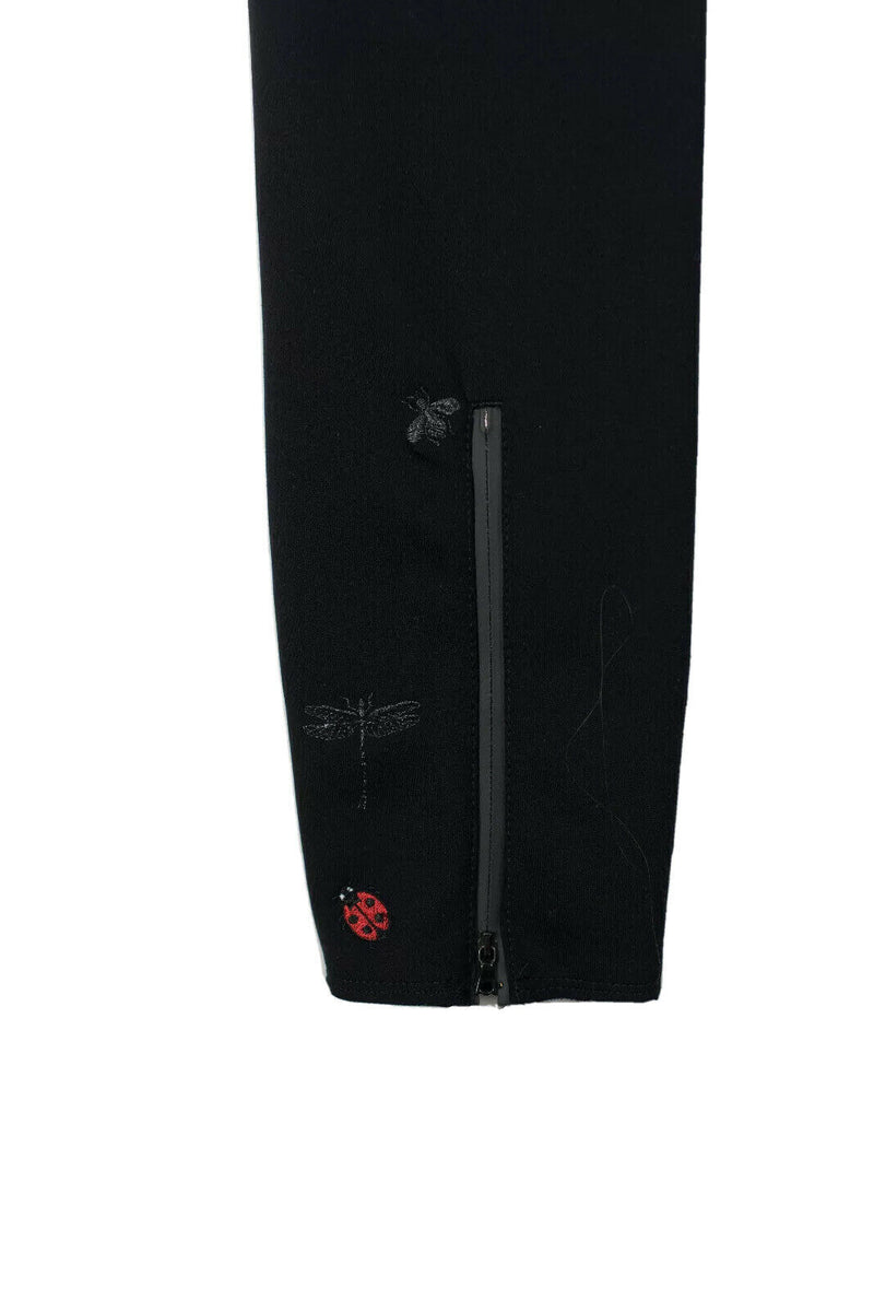 Cambio Womens Size 8 Medium Black Trousers Ladybug Embroidered Zipper Leg Pants