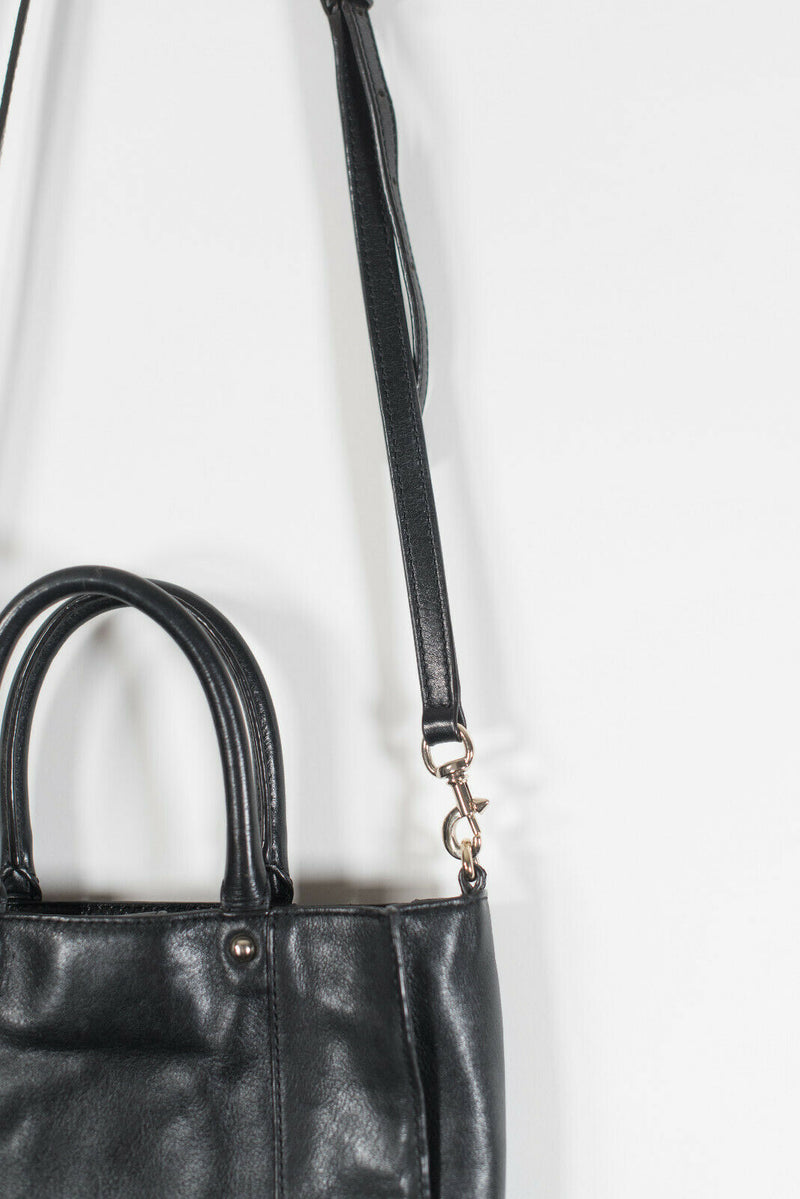 Rebecca Minkoff Womens Black Crossbody Leather Handbag Removable Strap Purse Bag