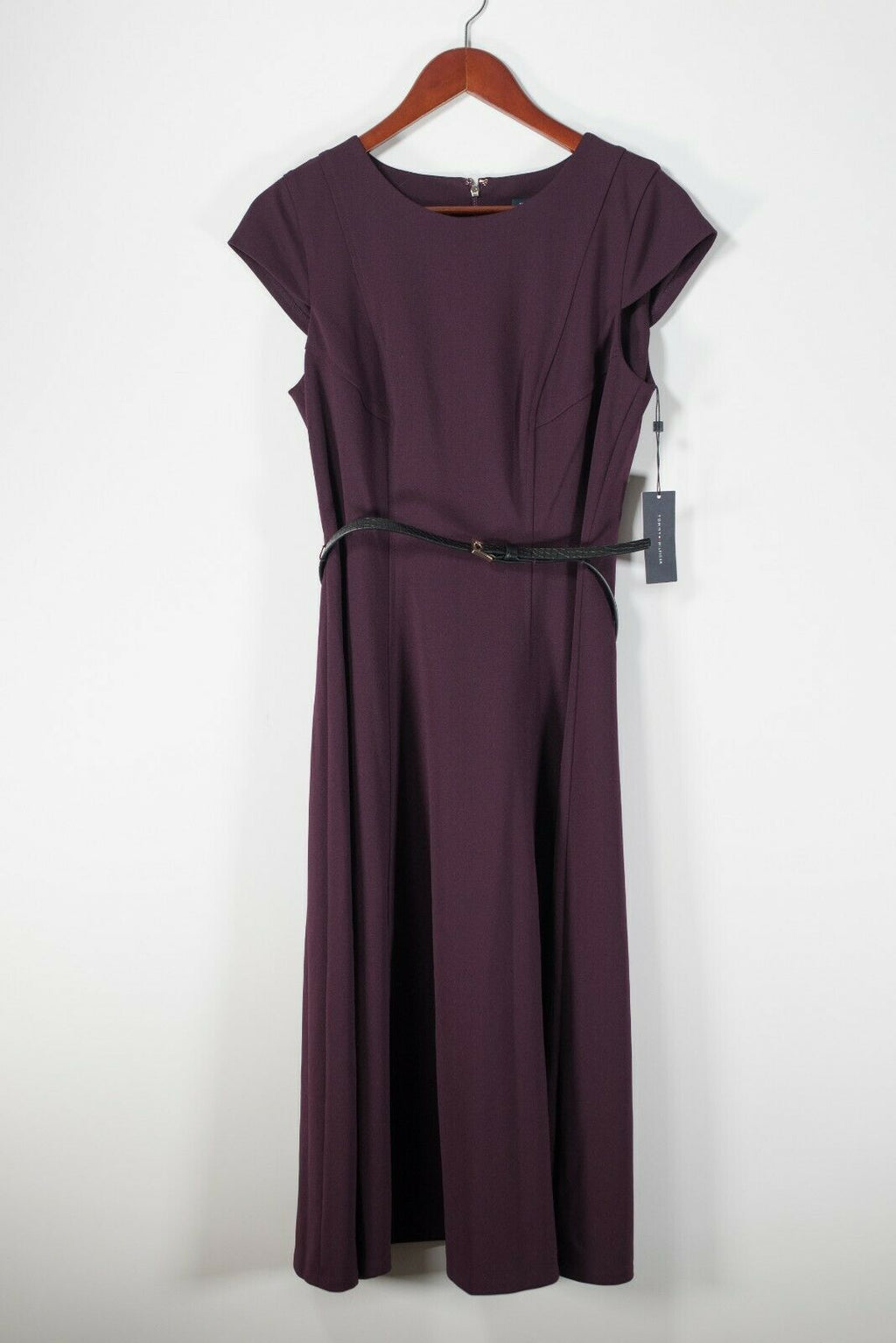 Tommy Hilfiger Women's Size 10 Medium Purple Dress Cap Sleeve Belted NWT $144