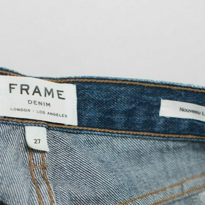 Frame Denim Nouveau Le Mix Womens 27 Blue Jeans Frayed Raw Hem Cotton Denim $425
