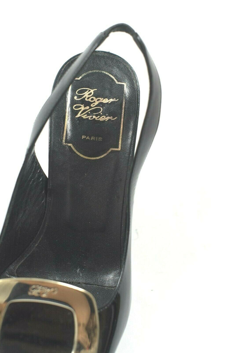 Roger Vivier Womens Size 35.5 Black Slingbacks Wedge Sandals Patent Open Toe
