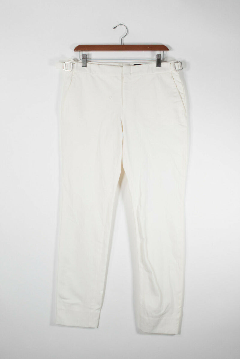 Gucci Womens Size 42 Medium White Trousers Adjustable Waist Slash Pocket Pants